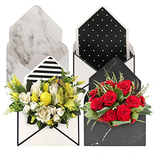 CODOHI Florist Bouquet Envelop Box, 4 Pcs Flower Wrapping Paper Packaging Boxes Folding Flower Envelope Basket for Wedding Party Mother's Day (White Black Marble Print)