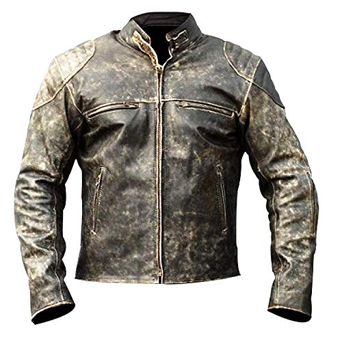 Mens Cafe Racer Retro Vintage Style Real Leather Motorcycle Jackets Collections (XS, Antique Jacket)