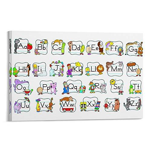 Divertidos carteles de cognitivos ABC en mayúsculas y minúsculas adecuados para niños...