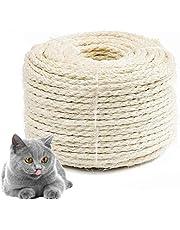 Bluelves Cuerda de Sisal Gatos, Sisal Cuerda para Reparar y Reemplazo de Gato Rascarse Pilar, Contiene Reparación Árbol, Balcón Barandilla, Jardineria y DIY. (6mm, 4m)