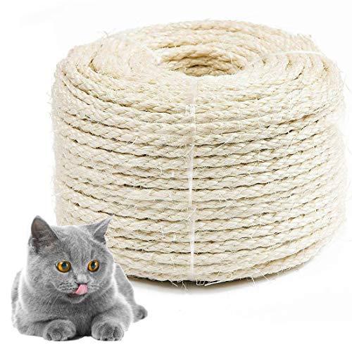 Sisalseil für kratzbaum, Natur Sisal Seil, Mehrzweckseil Seil Sisal für katzen kratzbaum, Katzenbaum Sisal-Seil (6mm, 20m)
