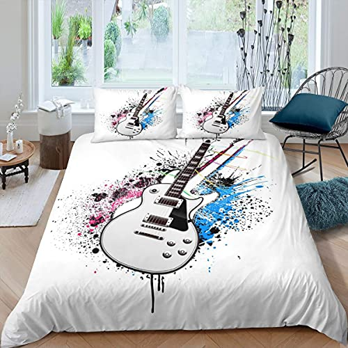 Funda de edredón para guitarra, diseño de música de rock, Hip Hop Grunge, tamaño individual para niños, jóvenes, adultos, colcha de guitarra eléctrica Hipster, decoración de dormitorio, color