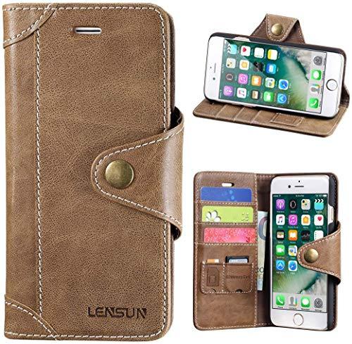 Lensun Cover iPhone SE 2020, Cover iPhone 7, Cover iPhone 8, Vera Pelle Cuoio Custodia Genuino Annata a Portafoglio con Chiusura Magnetico per iPhone 7 e iPhone 8 4.7' – caffè (7G-GT-CE)