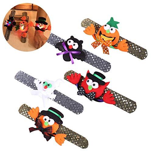 Byou Snap Armbanden, 5 stuks, Halloween, slap armbanden, lichten, geest, pompoen, vleermuis, slaapbanden voor Halloween, party, cosplay kostuum