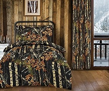 20 Lakes Hunter Camo Toddler Comforter, Sheet, Pillowcase Set (Black)