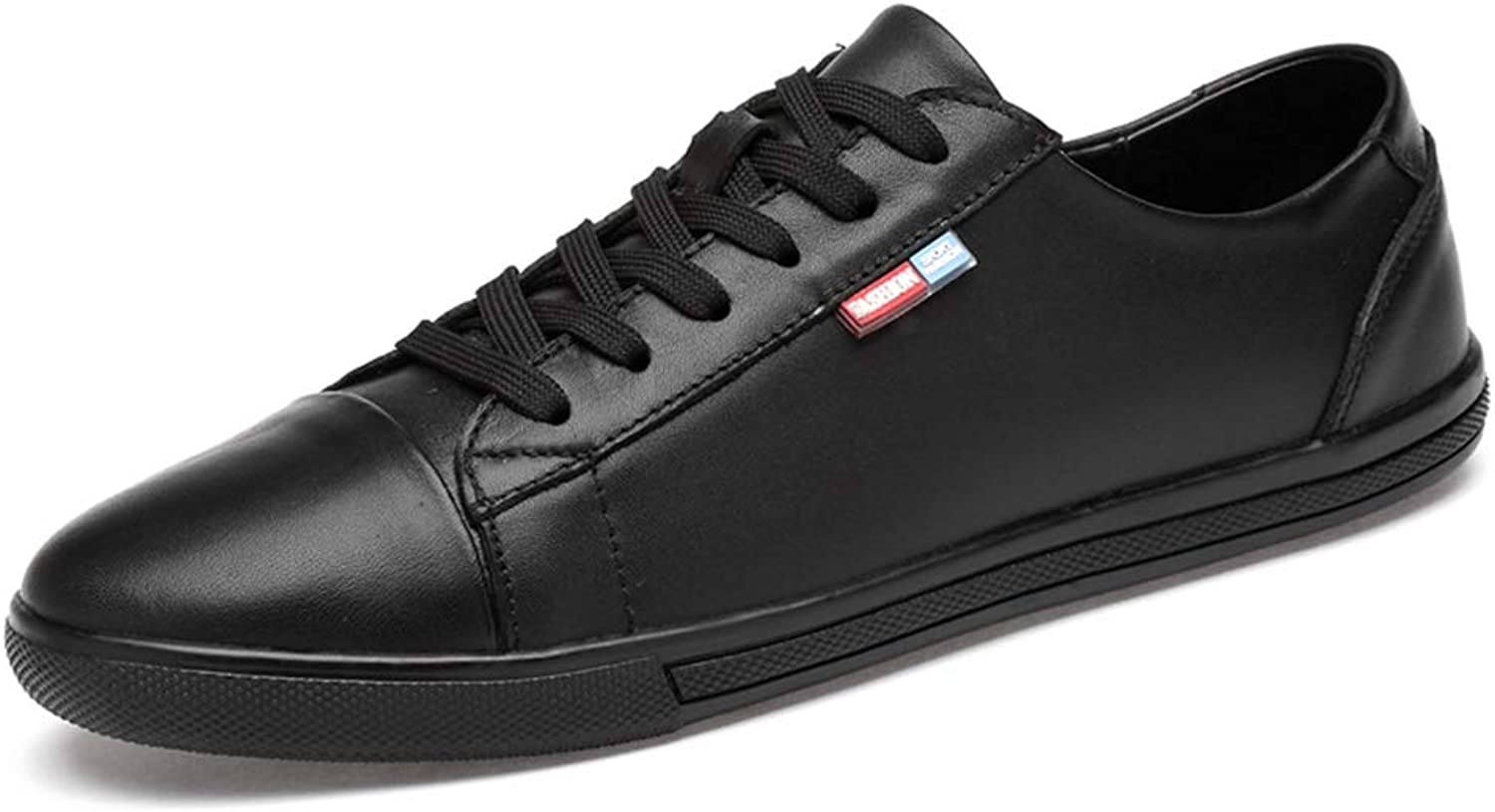 MUMUWU Lightweight Breathable Fashion Board shoes for Men Genuine Leather Outdoor Casual Flat Athletic shoes (color   Black, Size   8.5 D(M) US)