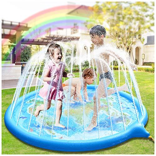 Hangrui Splash Pad, Almohadilla de aspersión Aspersor de Juego,Jardín de Verano Juguete para Niños de 180 cm, para Actividades Familiares Aire Libre /Fiesta /Playa/ Jardín