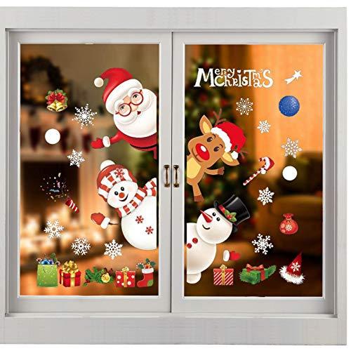 Weihnachten Fenstersticker, Fensteraufkleber PVC Fensterbilder Weihnachten Fensterdeko Fensteraufkleber Für Winter Fensterdeko Weihnachtsdeko, Weihnachtsmann Sterne Weihnachts Rentier (A34)