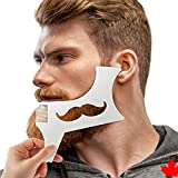 Beard Shaping Tool Template, Stencil, Trimmer, Styling Comb for Men, MADE IN CANADA, 6-in-1,for Goatee Moustache Sideburns, Jaw, Neck Line