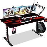 Himimi 60'' Mesa Gaming Desk, Ergonómica Grande PC Gaming Escritorios 152 x 71 x 76 cm, Computer Computadora Gamer Pro Tablas con Alfombrilla de ratón, Portavasos y Gancho para Auriculares