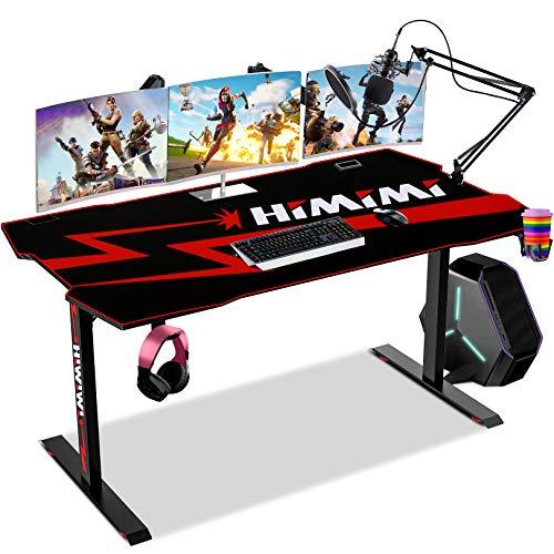Himimi 60'' Mesa Gaming Desk , Ergonómica Grande PC Gaming Escritorios 152 x 71 x 76 cm, Computer Computadora Gamer Pro Tablas con Alfombrilla de ratón, Portavasos y Gancho para Auriculares