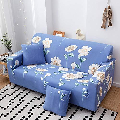 chuanglanja Möbelschutzmatte Zweier Blaue Blumensofabezug 1/2/3/4 Sitz Hochelastisches Langlebiges Möbelschutzkissen - 3-Sitzer (190-230 cm)