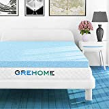 GREHOME Mattress Topper Twin, 3 Inch Gel Infused Memory Foam Mattress Topper, Mattress Topper for Twin Bed, 38 x 74 x 3 inches (97 x 188 x 7.62 cm)
