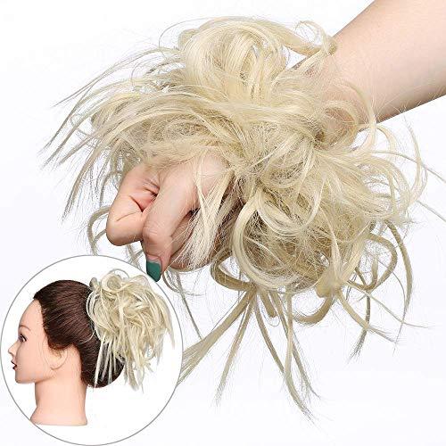 45 G Haar Extensions Haarverlängerung Haarteil Dutt Haargummi Hochsteckfrisuren Brautfrisuren gelockter unordentlicher wie Echthaar Hellblond