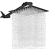 12 Inch Square Rain Showerhead with 11 Inch Adjustable Extension Arm, Large Stainless Steel High Pressure Shower Head,Ultra Thin Rainfall Bath Shower with Easy to Clean and Install - Matte Black
