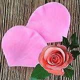 LINLIN 2PCS Set Petal Leaf Rose Molde de Silicona en Forma de Herramientas de decoración de Pasteles Fondant 3D Flores Molde de Pastel de Bodas