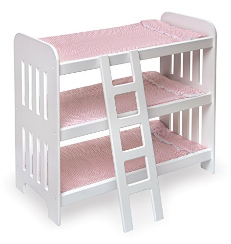 Badger Basket Triple Doll Bunk Bed with Ladder, Bedding, and Free Personalization Kit (fits American Girl Dolls) White/Pink (18580)