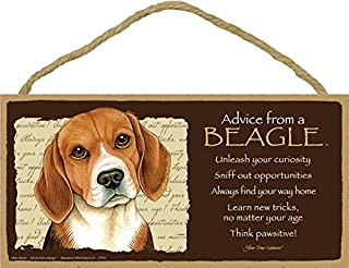 """SJT ENTERPRISES, INC. Advice from a Beagle 5"""" x 10"""" MDF Wood Plaque Sign Licensed from Your True Nature (SJT67504)"""