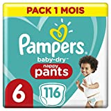 Couches Culottes Pampers Taille 6 (+15 kg) - Baby Dry Nappy Pants, 116 culottes, Pack 1 Mois