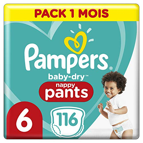 Couches Culottes Pampers Taille 6 (+15 kg) - Baby Dry Nappy Pants, 116 culottes, Pack 1 Mois /NEW