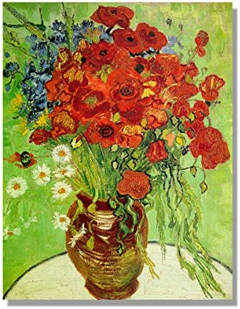 Eliteart Red Poppies and Daisies Asters by Vincent Van Gogh Oil Painting Reproduction Giclee product image