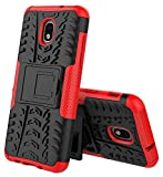 Galaxy J3 2018 Case with HD Screen Protector, J3 Star, J3 V 3rd Gen,J3 Achieve Case,Express Prime 3/Amp Prime 3,J337A,J3 Orbit,Case Kickstand SunRemex for Samsung Galaxy J3 (Red)