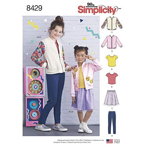 Simplicity 8429 Mädchen Schnittmuster Bomberjacke, Rock und Leggings