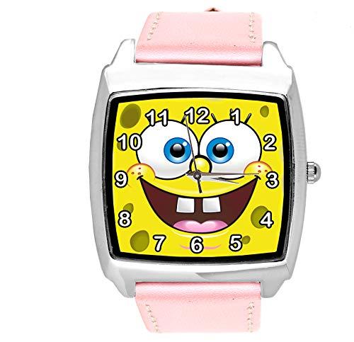 taport® Sponge Bob Square Pants Quarz Square Uhr Pink leder Band + Gratis Ersatz Batterie + Gratis Geschenkverpackung
