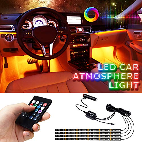 Car Interior Lights, LETOUR 4pcs 72 LED Car LED Strip Lights RGB Multi Color Music, Waterproof Underdash Lighting Kits with Wireless Remote Control & Music Sensor, DC 12V Car Charger Included