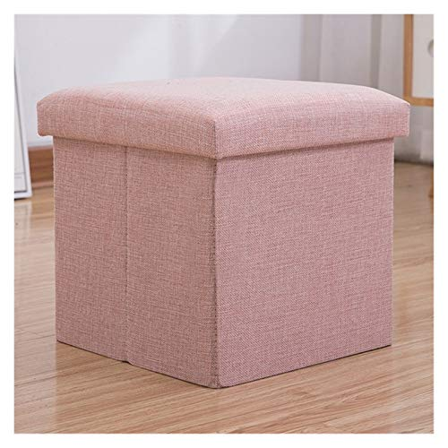 Folding Storage Box Seat Cube Single Seat Bench with Removable Lid,Toy cabinet storage footstool,Large foldable storage footstool Storage footstool ( Color : Lotus root powder , Size : (30*30*30cm) )