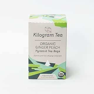 Kilogram Tea - Organic Ginger Peach Pyramid Tea Bags - Sustainably Produced - 15 count box