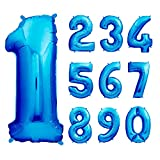 envami Globos de Cumpleãnos 1 Azul I 101 CM Globo 1 Año I Globo Numero 1 I Decoracion 1 Cumpleaños Niños I Globos Numeros Gigantes para Fiestas I Vuelan con Helio