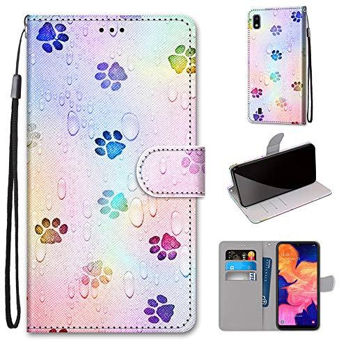 Miagon Flip PU Leder Schutzhülle für Samsung Galaxy A10,Bunt Muster Hülle Brieftasche Case Cover Ständer mit Kartenfächer Trageschlaufe,Fußabdruck