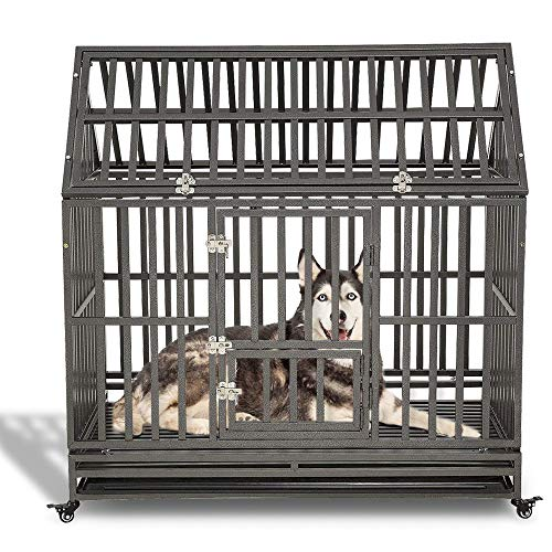 LUCKUP Heavy Duty Dog Cage Strong Metal Kennel and Crate for Medium and Large Dogs, Pet Playpen with Four Wheels,Easy to Install,48 inch,Black … …