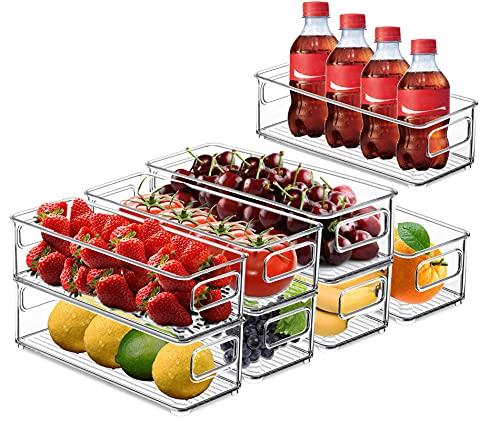 Juego de 8 organizadores de despensa, organización perfecta de cocina o despensa, organizadores para congeladores, encimeras y armarios, estantes de almacenamiento de plástico transparente sin BPA