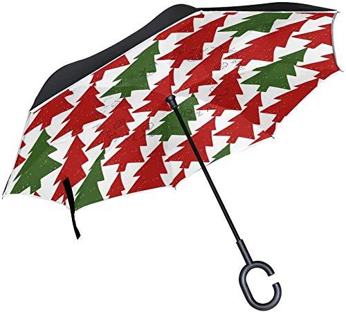 Dubbele Laag Omgekeerde Paraplu's Kerstboom Patroon Omgekeerde Paraplu Winddicht Waterdicht voor Auto Outdoor Reizen Volwassen Mannen Vrouwen