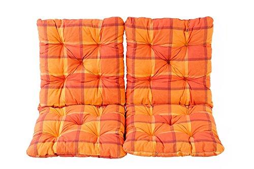 Ambientehome Lot de 2 Coussins a carreux Haut Dossier HANKO pour Fauteuil de Jardin, Coton, ca. 98 x 50 x 8 cm, Ton Orange, 98x50x8 cm