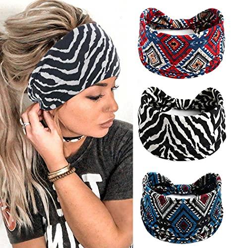 Yean Diadema ancha bohemia a rayas, turbante negro elástico para el pelo, accesorios para la cabeza de yoga para mujeres y niñas (paquete de 3)