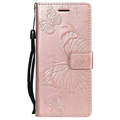 RZL Teléfono móvil Fundas para Nokia 7.2 6.2 4.2 3.2, Mariposa tirón del Cuero de la Carpeta del Caso para Nokia 2.1 3.1 5.1 1 7.1 8.1 Plus X7 X71 (Color : Pink, Material : For Nokia X7 2018)