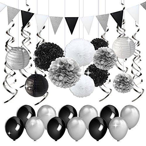 LUCK COLLECTION Schwarze und Silberne Partei-Dekorationen Seidenpapier-Pompons Papierlaternen-Wimpel-Fahnen-Wirbel verpacken für Geburtstags-Party, Bachelorette, Ruhestand, Staffelungs-Dekorationen