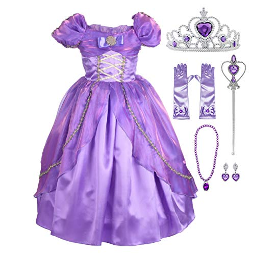 Lito Angels Girls Princess Dress Up Costume Halloween Christmas Fancy Dress Outfit with Accessories Size 7-8 Purple