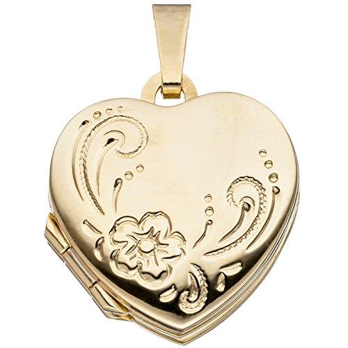 JOBO Damen-Medaillon Herz aus 333 Gold zum Öffnen für 4 Fotos