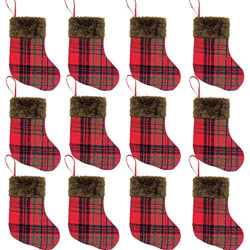 JPYH Set da 6 Camino Calza di Natale, 18.5cm Babbo Natale Pupazzo di Neve e Elk Calze Natalizie da Appendere Candy Sacchetti Regalo per Albero di Natale Festa di Natale Decorazioni