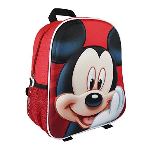 Disney Mickey Mouse Jungen Rucksack, Großer Schulrucksack für Kinder, Kindergarten Rucksack, Schultasche 3D Design! Geschenk für Jungen!