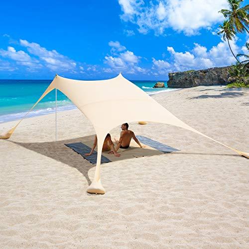 2,4x2,4 m Tende e Parasole da Spiaggia, UPF 50+ Protezione Tendalino parasole da spiaggia portatile con Coperte e 4 Sacchi di Sabbia da Ancoraggio, Include Borsa Portatile (Beige)