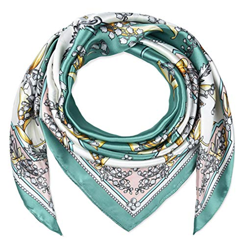 corciova 35quot Women Polyester Silk Feeling Bell Orchid Dark Cyan Hair Scarf for Sleeping