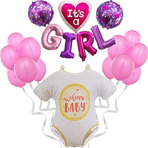 Decoración de globos para Baby Shower de niña - Photocall rosa para adornar bautizo, Babyshower - Regalo Nacimiento bebé - Set de decoración de 20 piezas - Fiesta de bienvenida de niña recién nacida