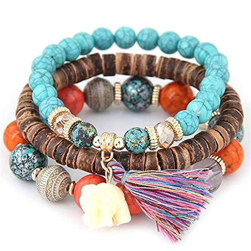 KISSFRIDAY Colorful Fashion Beads Boho Elephant Hand-knitted Star Moon Bracelets Set Jewelery