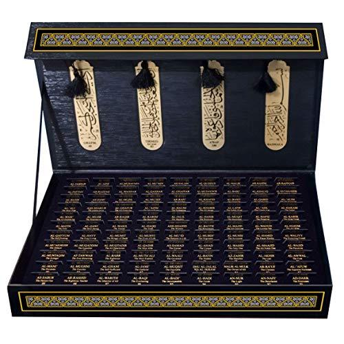 Al-Asma Ul-Husna Metal and Magnetic 103 Pieces Set Bookmarks by Pictor Gift, 99 Beautiful Names of Allah, Selected Verses of The Holy Quran, Muslim, Ramadan, Islamic, Al Adha, Eid Mubarak Gifts
