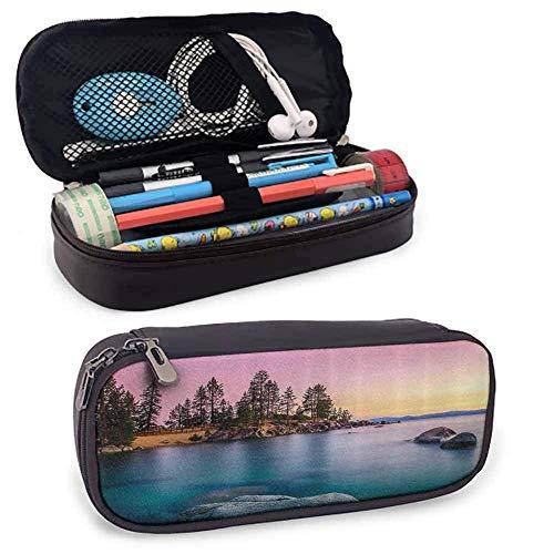 TYUHN Lake House Decor Kleine Bleistifttasche Trippy getönten Tröpfchen Muster wie Vintage Tupfen auf grauem Hintergrundbild Täglicher Gebrauch Multi